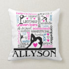 Words of Gymnastics Terminology w/ Monogram Throw Pillow