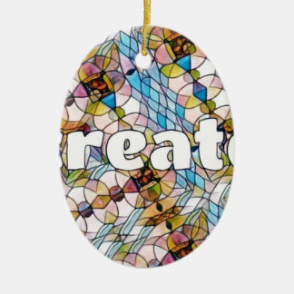 Words of Inspiration - Create Ceramic Oval Ornament