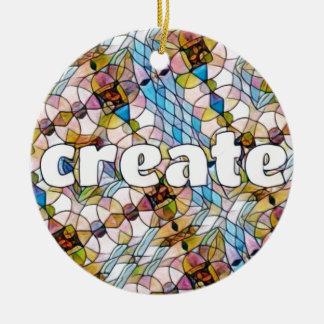 Words of Inspiration - Create Round Ceramic Ornament