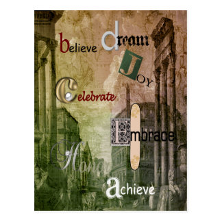 words to live by, antique ruin buildings postcard