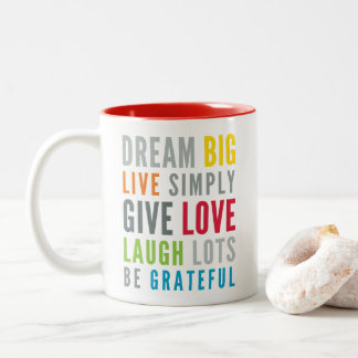 WORDS TO LIVE BY modern motivational mantra quote Two-Tone Coffee Mug