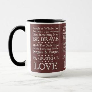 Words To Live By ~ Vintage Motivational Mug