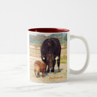 Work A Stockdog Australian Shepherd with Bull Two-Tone Coffee Mug
