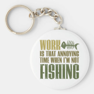 Work And Fishing Basic Round Button Keychain