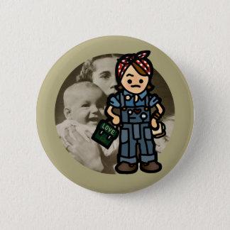 work badge. 2 inch round button