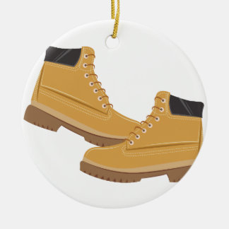 Work Boots Round Ceramic Ornament