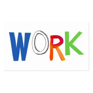 Work business employment job worker art words pack of standard business cards