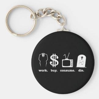 work buy consume die keychain