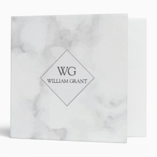 Work Files in Style White marble Texture 3 Ring Binders