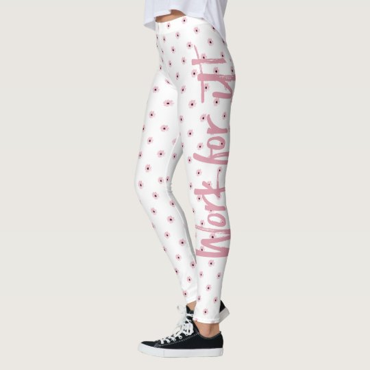 Work For It! With Pink Flowers White Leggings
