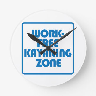 Work Free Kayaking Zone Wallclock