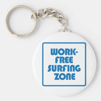 Work Free Surfing Zone Basic Round Button Keychain