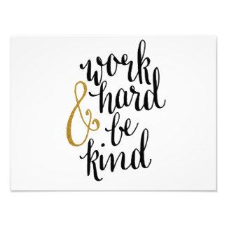 Work Hard & Be Kind Poster