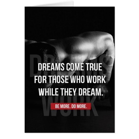 Work Hard - Dreams Come True - Gym Motivational Card