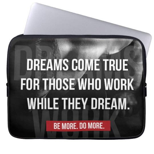 Work Hard - Dreams Come True - Gym Motivational Laptop Sleeves