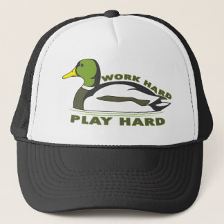 Work Hard Play Hard Mallard Duck Trucker Hat