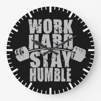 Work Hard, Stay Humble - Workout Motivational Large Clock