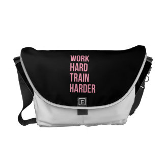 Work Hard Train Harder Fitness Quote Black Pink Courier Bags