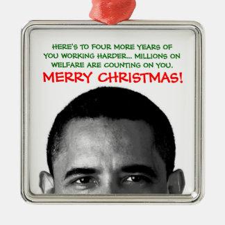 Work Harder Christmas Barack Obama Silver-Colored Square Ornament