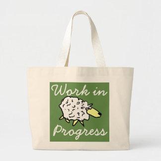 """Work in Progress"" Sheep Cartoon Project Bag"