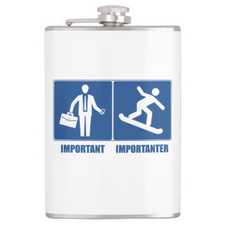 Work Is Important, Snowboarding Is Importanter Hip Flask