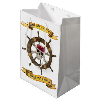 Work Like a Captain Party Like a Pirate Medium Gift Bag