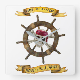 Work Like a Captain Party Like a Pirate Square Wall Clock