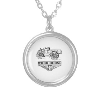 work load truck silver plated necklace