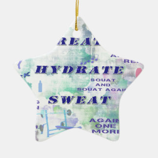 Work Out Body Building Gal at the Gym Breath Sweat Ceramic Ornament