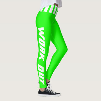 Work Out in Bright Neon Green & White - DIY Color Leggings