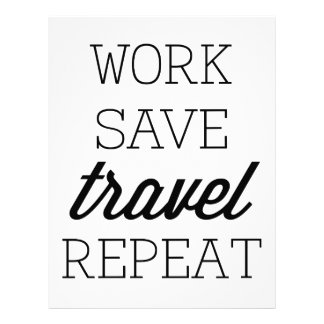 Work Save Travel Repeat Personalized Letterhead