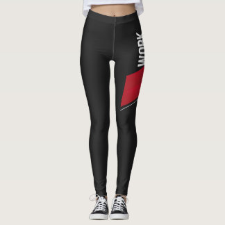Work Sweat Achieve Black and Red Leggings