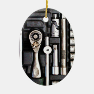 Work Toolbox - Industrial Print Ceramic Oval Ornament