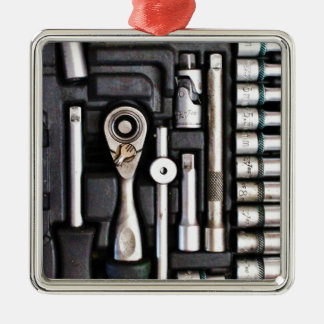 Work Toolbox - Industrial Print Silver-Colored Square Ornament