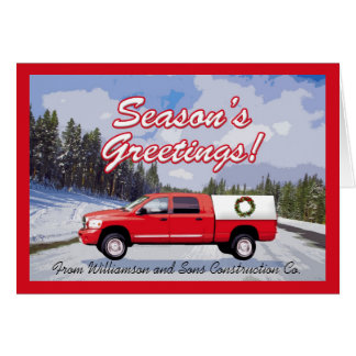 Work Truck Logo Contractor Christmas Greeting Card