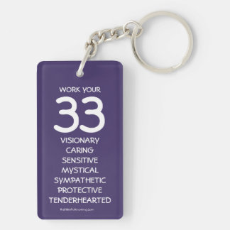 """""""Work your 33"""" Numerology Key Chain for Number 33"""