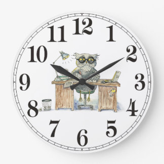 Workaholic night owl large clock