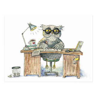 Workaholic night owl postcard