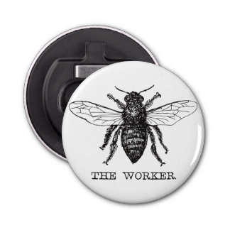 Worker Bee Bumblebee Honey Antique Illustration Button Bottle Opener