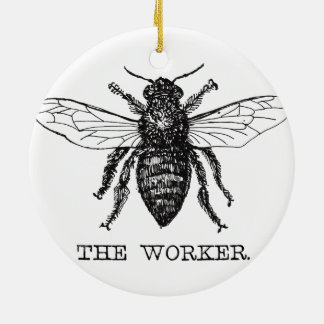 Worker Bee Bumblebee Honey Antique Illustration Ceramic Ornament