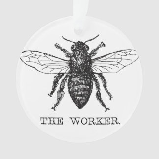 Worker Bee Bumblebee Honey Antique Illustration Ornament