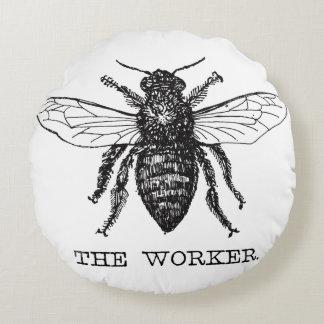 Worker Bee Bumblebee Honey Antique Illustration Round Pillow