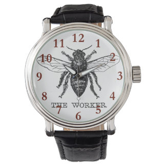 Worker Bee Bumblebee Honey Antique Illustration Watch