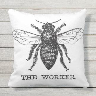 Worker Bee Bumblebee Vintage Motivational Outdoor Pillow
