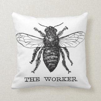 Worker Bee Bumblebee Vintage Motivational Throw Pillow