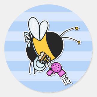 worker bee - hairdresser round sticker