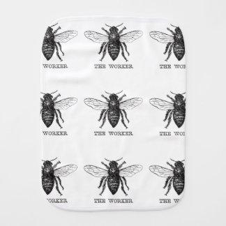 Worker Bee Honeybee Vintage Black Art Illustration Burp Cloth
