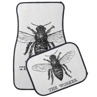 Worker Bee Honeybee Vintage Black Art Illustration Car Mat