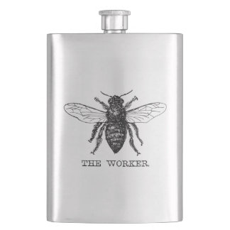 Worker Bee Honeybee Vintage Black Art Illustration Hip Flask