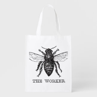 Worker Bee Honeybee Vintage Black Art Illustration Reusable Grocery Bag